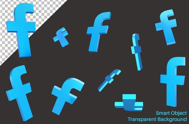 Flying facebook social media logo in 3d style Premium Psd