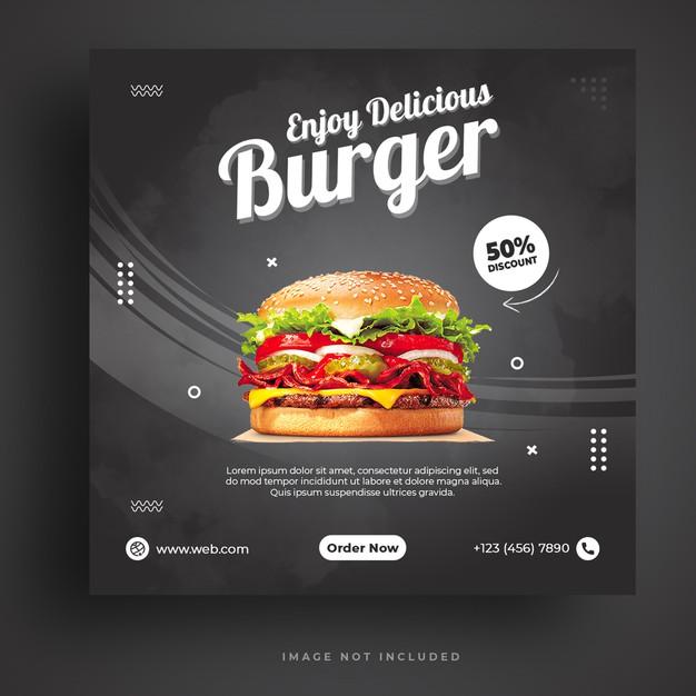 Food menu and restaurant burger social media banner template Premium Psd