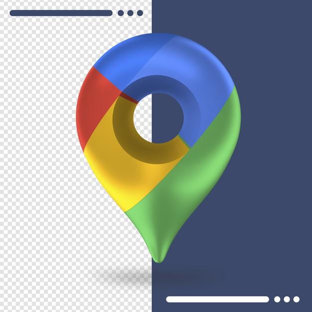 Logo of google maps in 3d rendering Premium Psd