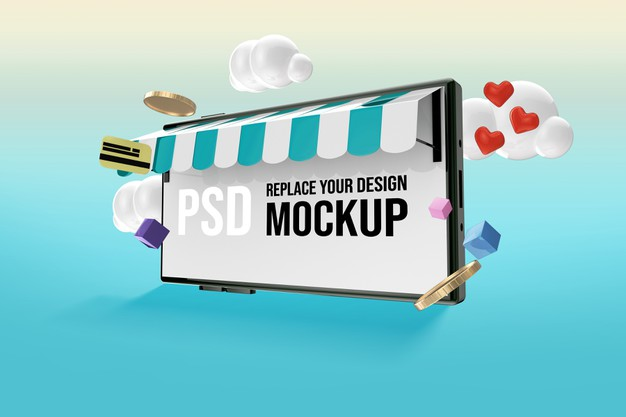 Mockup for smartphone screen for shopping online Premium Psd