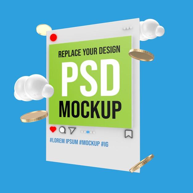 Mockup of instagram social media post Premium Psd