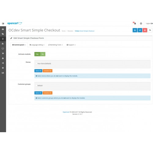 Module Simplified ordering for Opencart 3.0