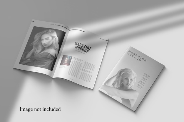 Perspective magazine mockup with shadow overlay