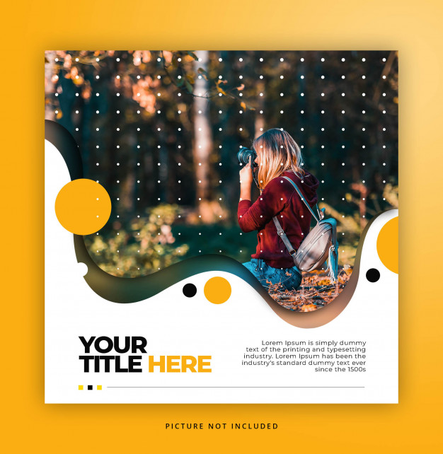 Square banner template with liquid frame