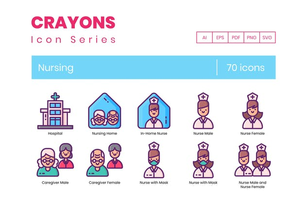 70 Nursing Line Icons