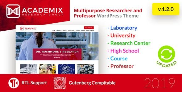 Academix - Multipurpose Education, Researcher and Professor WordPress Theme