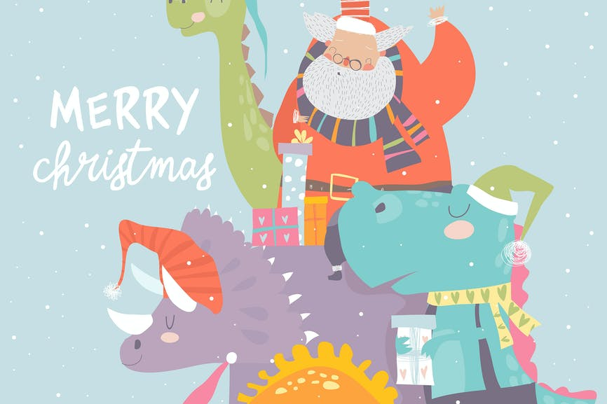 Cartoon Santa Claus with gifts sitting on dinosaur