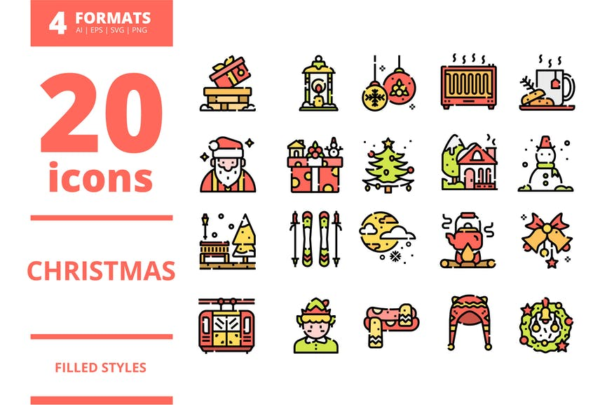 Christmas Filled icons packs