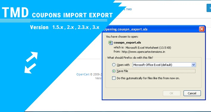 Coupon Import Export - import and export coupons for OpenCart