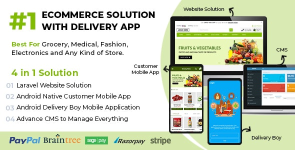 Ecommerce Solution with Delivery App For Grocery, Food, Pharmacy, Any Store - Laravel + Android Apps