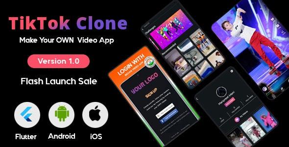 Flutter - TikTok - Triller Clone & Short Video Streaming Mobile App for Android & iOS