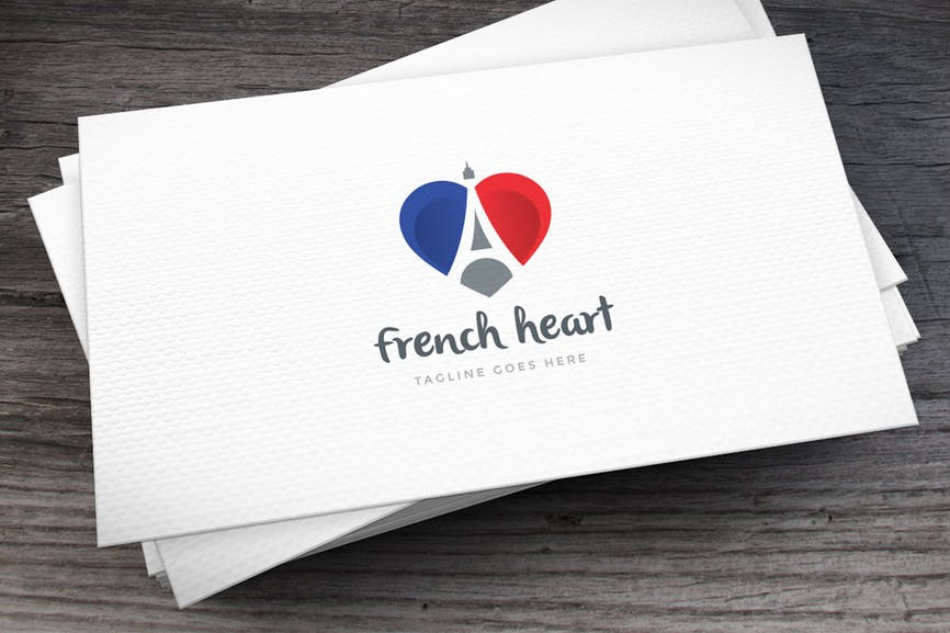 French Heart Letter A Logo Template