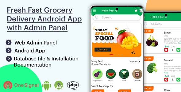 Fresh Fast Grocery Delivery Native Android App with Interactive Admin Panel v1.2