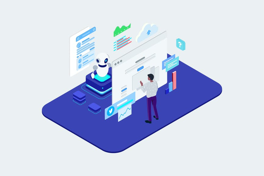 Human Chatting On Chatbot Application Isometric T2