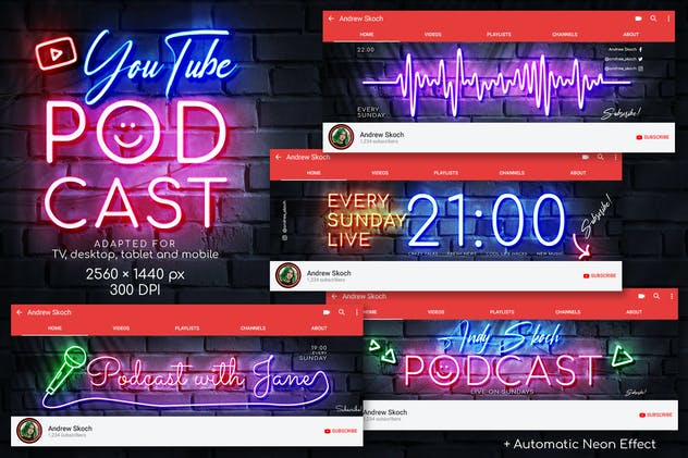 Neon Podcast - YouTube Channel Art