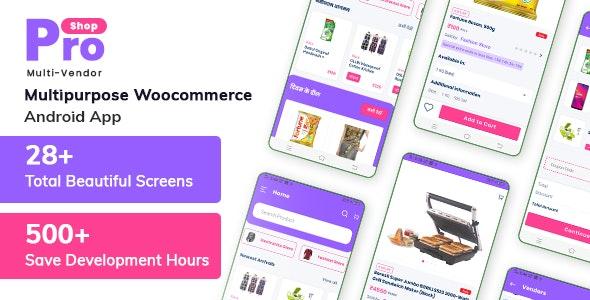 ProShop Multi-Vendor WooCommerce - E-commerce Android Full Mobile App + kotlin