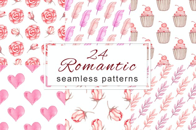 Romantic Seamless Patterns