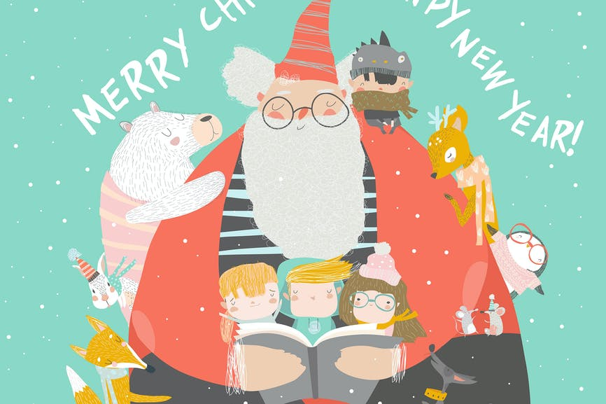Santa Claus reading books with happy kids and anim