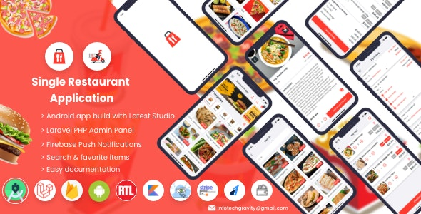 Single Restaurant - Android User & Delivery Boy Apps With Laravel Admin Panel