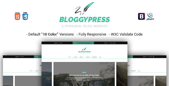 BloggyPress - Responsive Personal Blog HTML5 Template