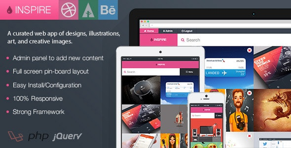 Inspire - Dribbble, Forrst, and Behance Board