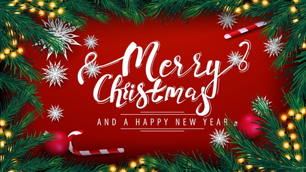 Merry christmas and happy new year Premium Vector