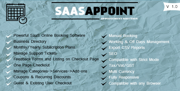 SaasAppoint NULLED - Powerful Booking System