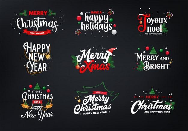 Sets of christmas typography Premium Vector