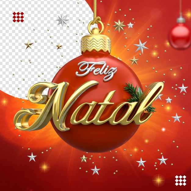 3d christmas ball logo with stars isolated Premium Psd