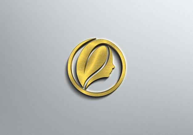 3d gold logo mockup Premium Psd