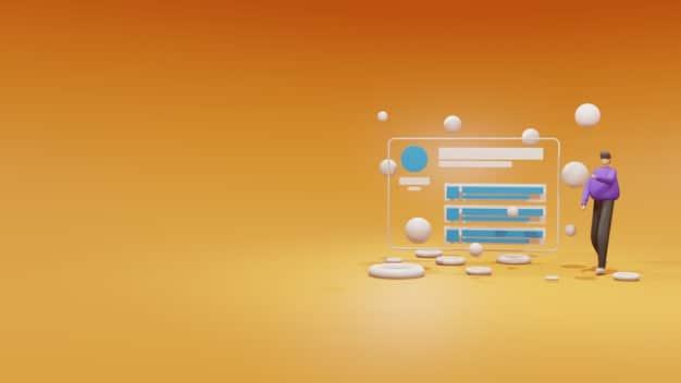 3d illustration website dashboard on browser window concept Premium Photo