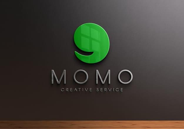 3d logo mockup on black wall Premium Psd