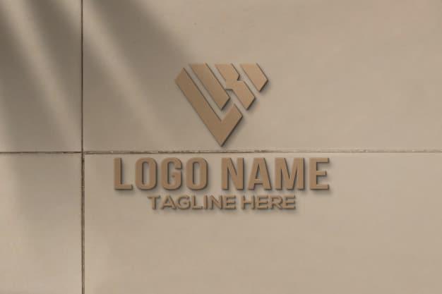 3d logo mockup on wall Premium Psd