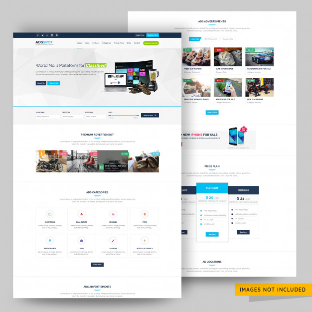 Ads post classified and listing website template premium psd Premium Psd
