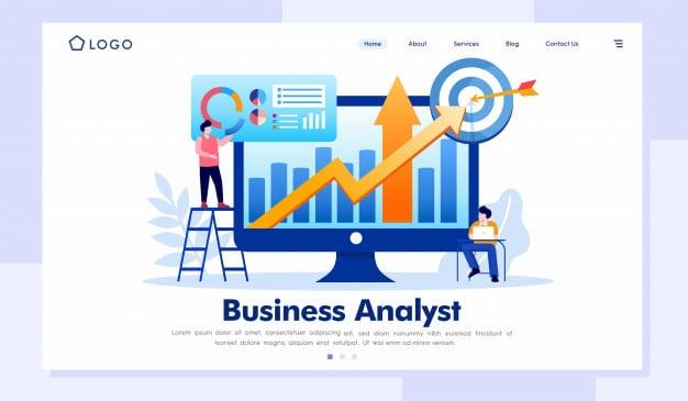 Business analyst landing page website illustration Premium Vector