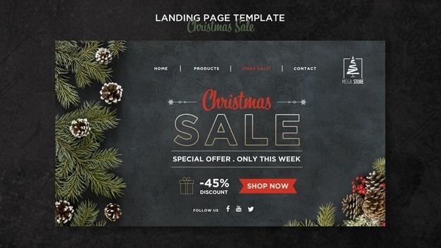 Christmas sale concept landing page template Premium Psd