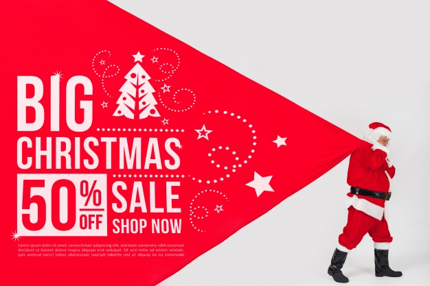 Christmas sale mockup with santa Free Psd
