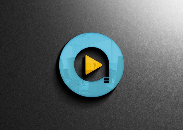 Close up on company wall logo mockup Premium Psd