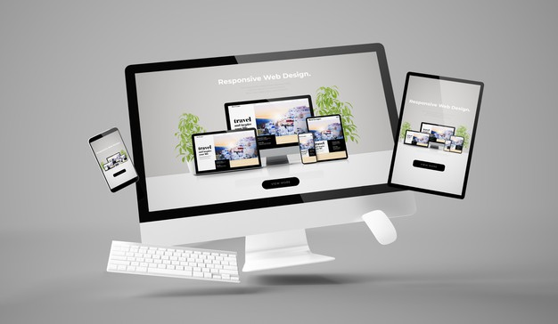 Computer, tablet and smartphone showing responsive website 3d rendering Premium Photo