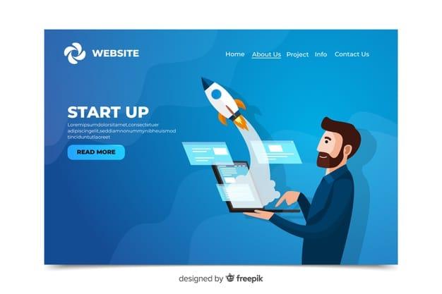 Corporative start up landing page Premium Vector