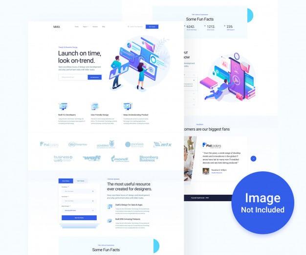 Digital agency and business psd website design Premium Psd