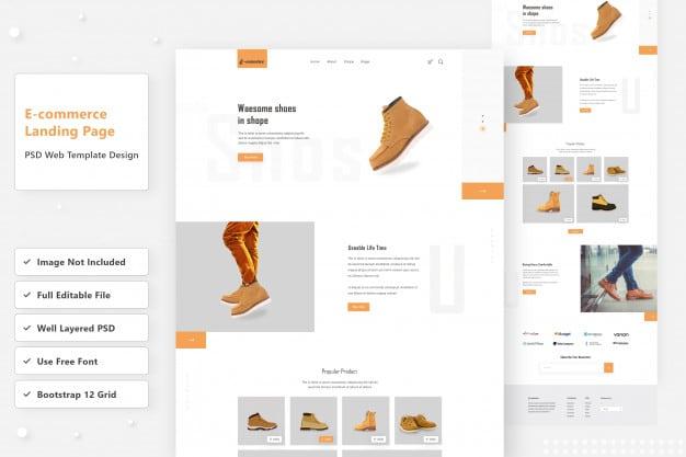 E-commerce shoes web landing page design Premium Psd