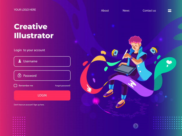 Graphic designer drawing with digital pen tablet for web and landing page Premium Vector