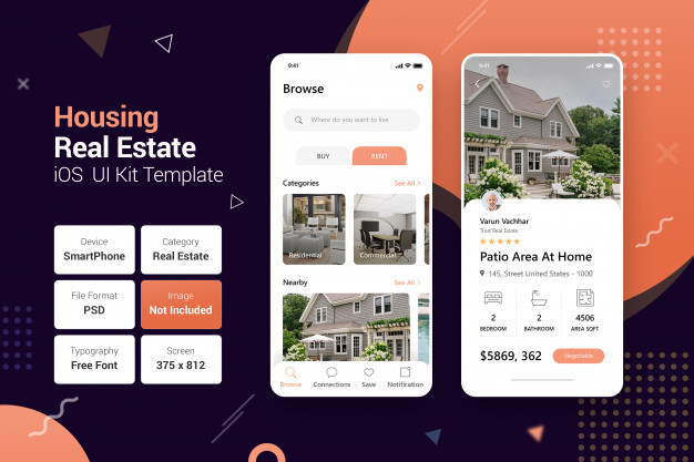 Housing real estate mobile apps Premium Psd