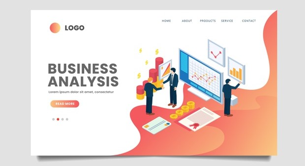 Isometric business landing page template Premium Vector