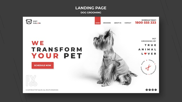 Landing page for pet grooming company Premium Psd