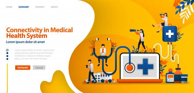 Landing page template with connectivity in medical health system. software in drug service and patient history .vector illustration for website Premium Vector