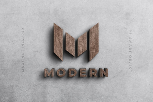 Logo 3d mockup in wood Premium Psd
