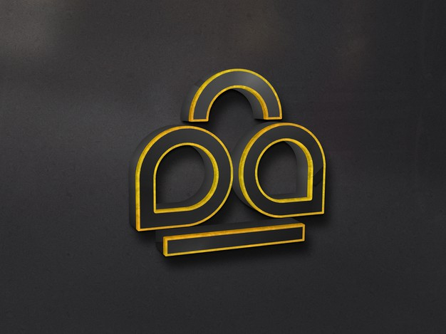 Luxury 3d glass logo mockup on wall with gold outlined Premium Psd