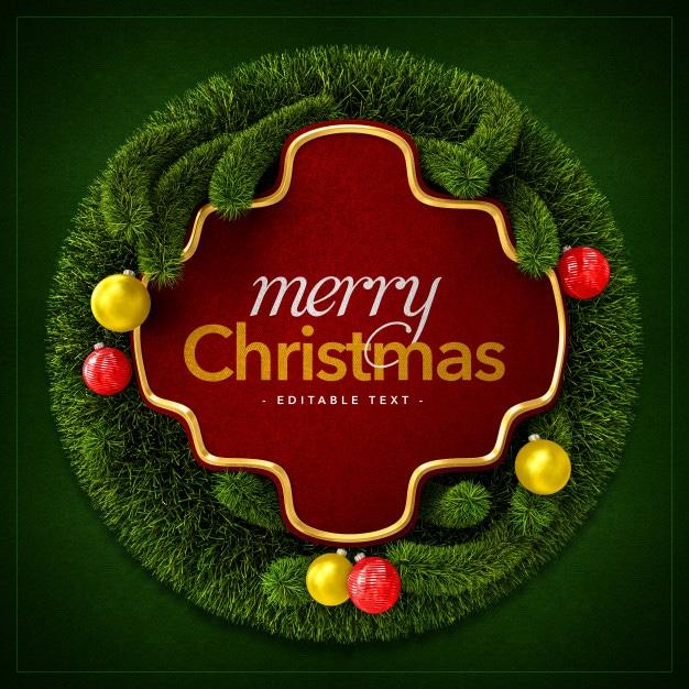 Merry christmas wreath and christmas balls Premium Psd